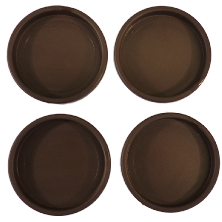 Castor Cups Brown Plastic 6.9cm - set of 4